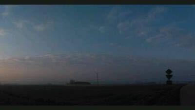 Panorama wschodzącego słońca z mostu na Wiśle